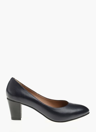 Divarese Kalın Topuklu Deri Ayakkabı Lacivert